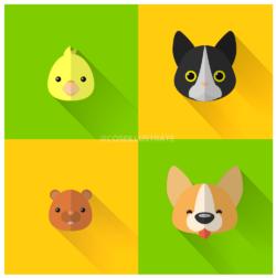 Set icone flat desing: animali.