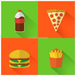 Set icone flat desing: cibo.