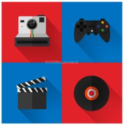 Set icone flat desing: hobby.